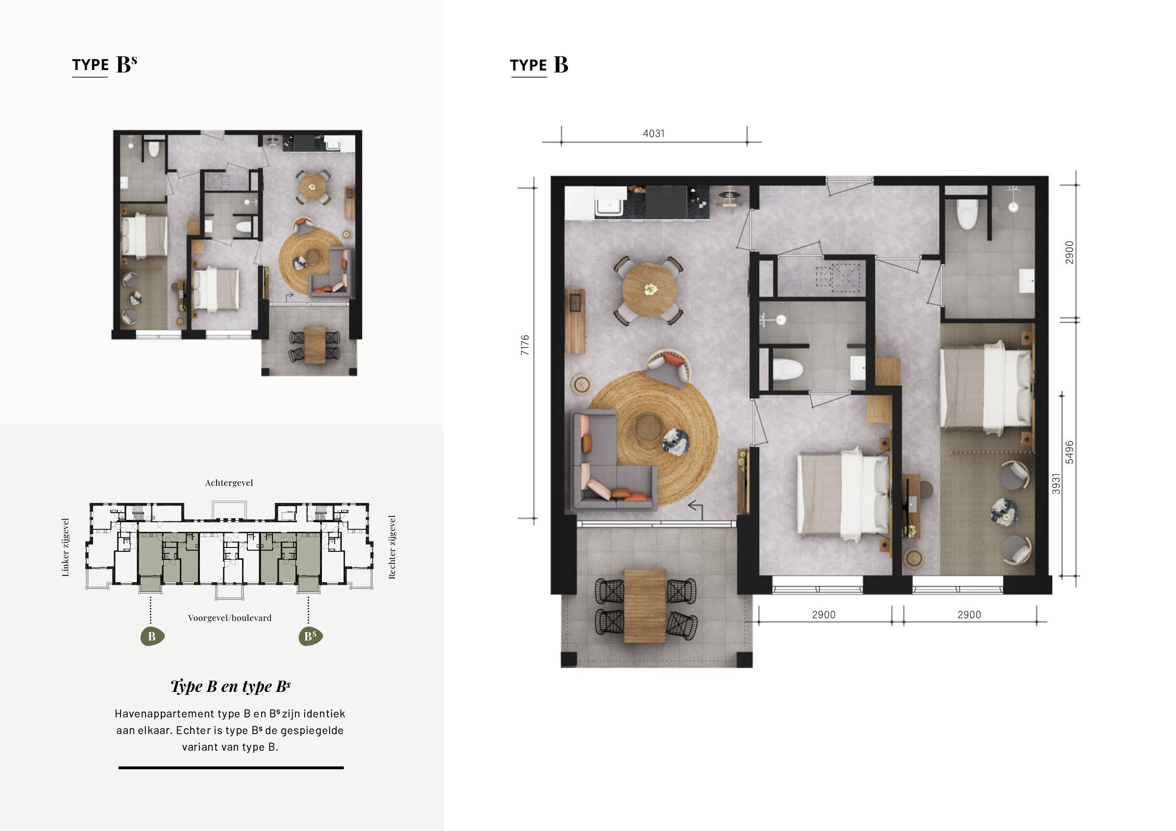 Grundrisse Wohnung B-Bs